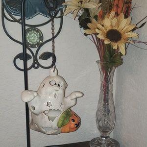 Crackled glass ghost pumpkin tealight holder